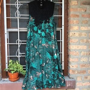 Anthro green butterfly lace collar swing dress S